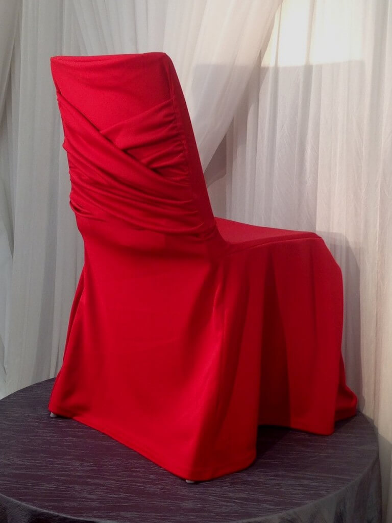 Njs Design Event Party Rentals 187 Red Swag Chair Cover