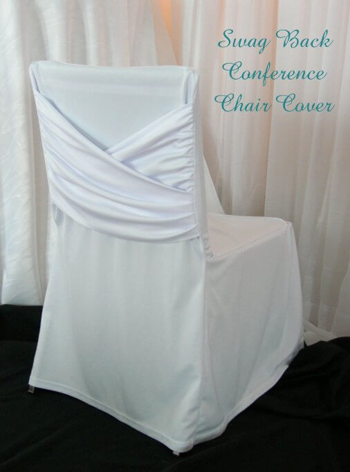 White Swag Back Conference Chair Cover