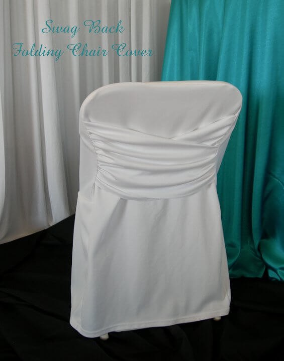 White Swag Back Folding Chair Cover