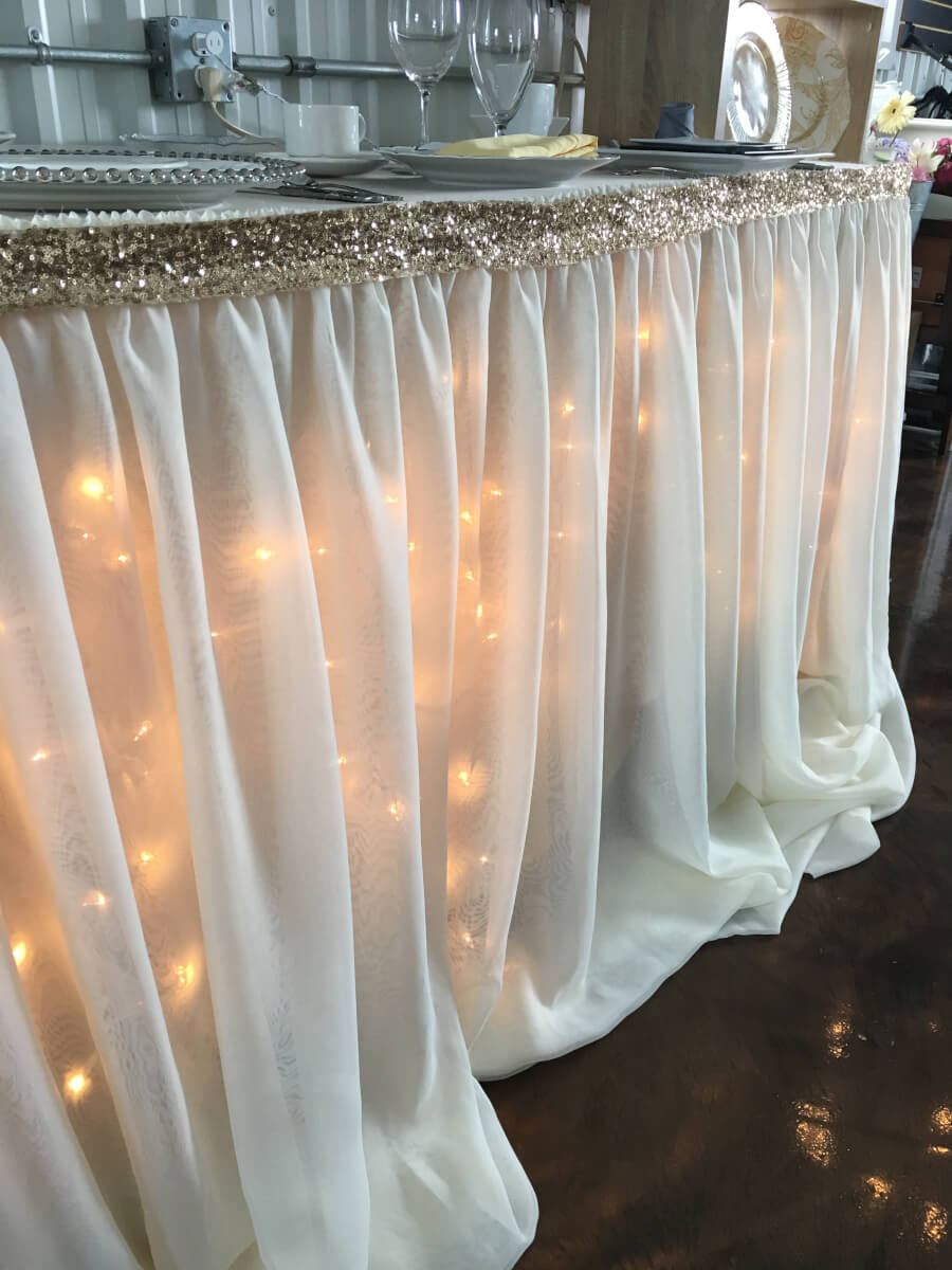 Ivory Sheer Voile Table Skirting