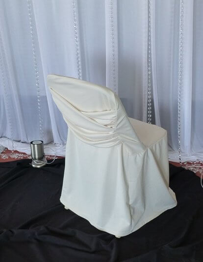 Ivory Swag Back Folding Chair Cover