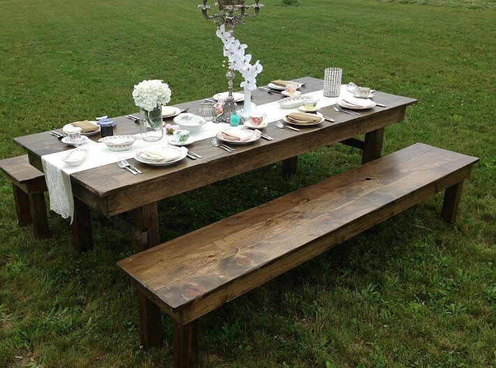 Admirable Harvest Tables Benches Njs Design Event And Party Rentals Alphanode Cool Chair Designs And Ideas Alphanodeonline