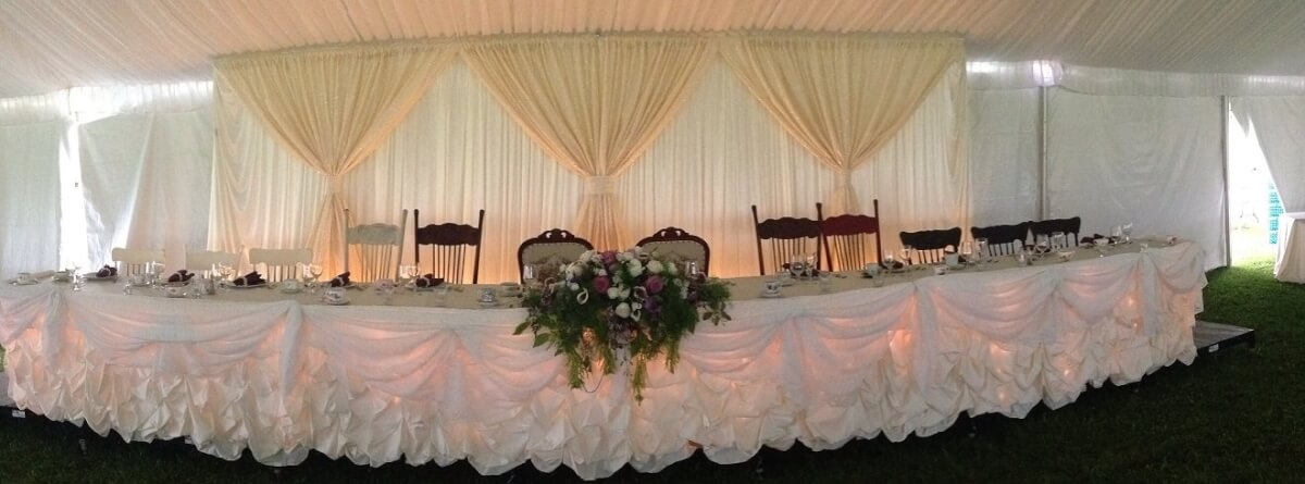 Ivory Satin Vintage Pickup Head Table