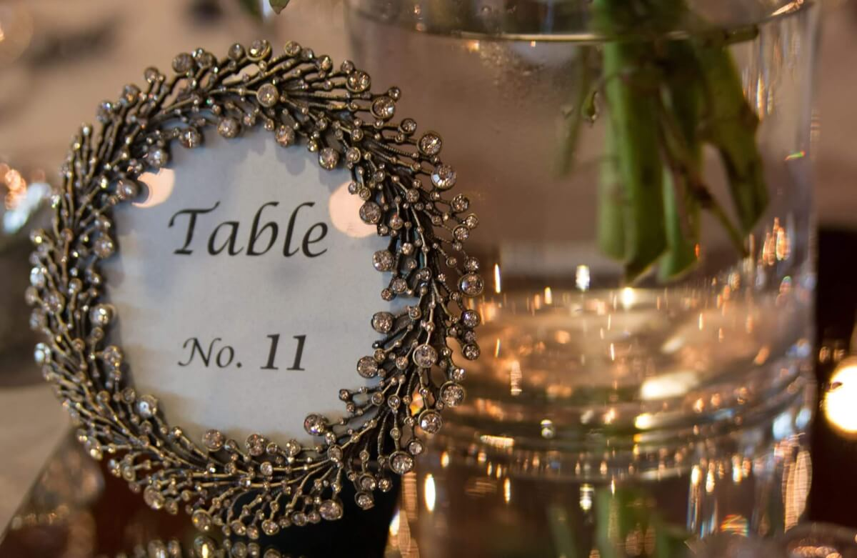 Rhinestone Filigree Table Number