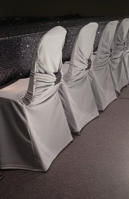 Diamond Grey Swag Back Chair Cover