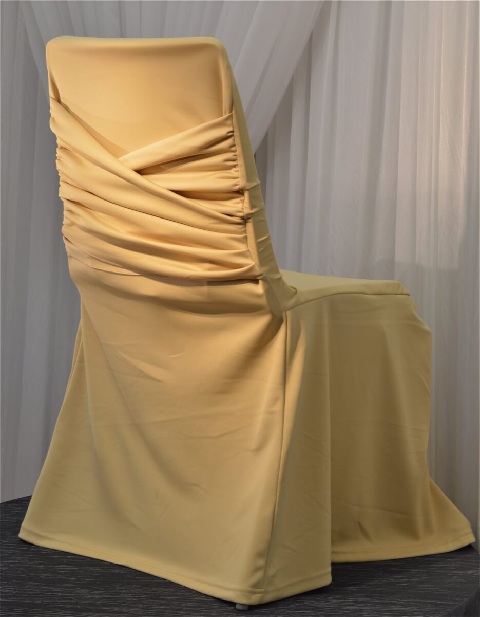 Vintage Gold Swag Back Chair Cover