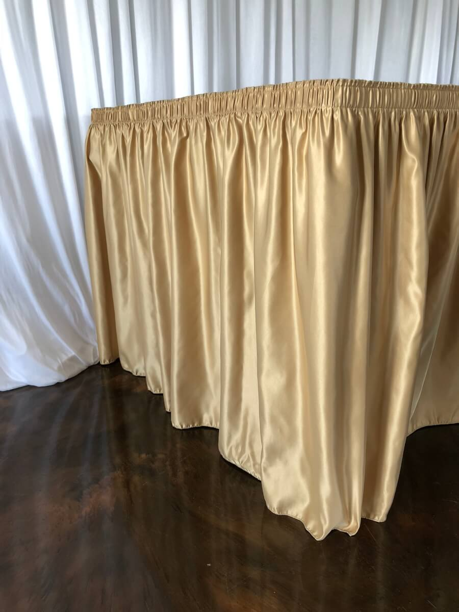Vintage Gold Lamour Satin Table Skirting