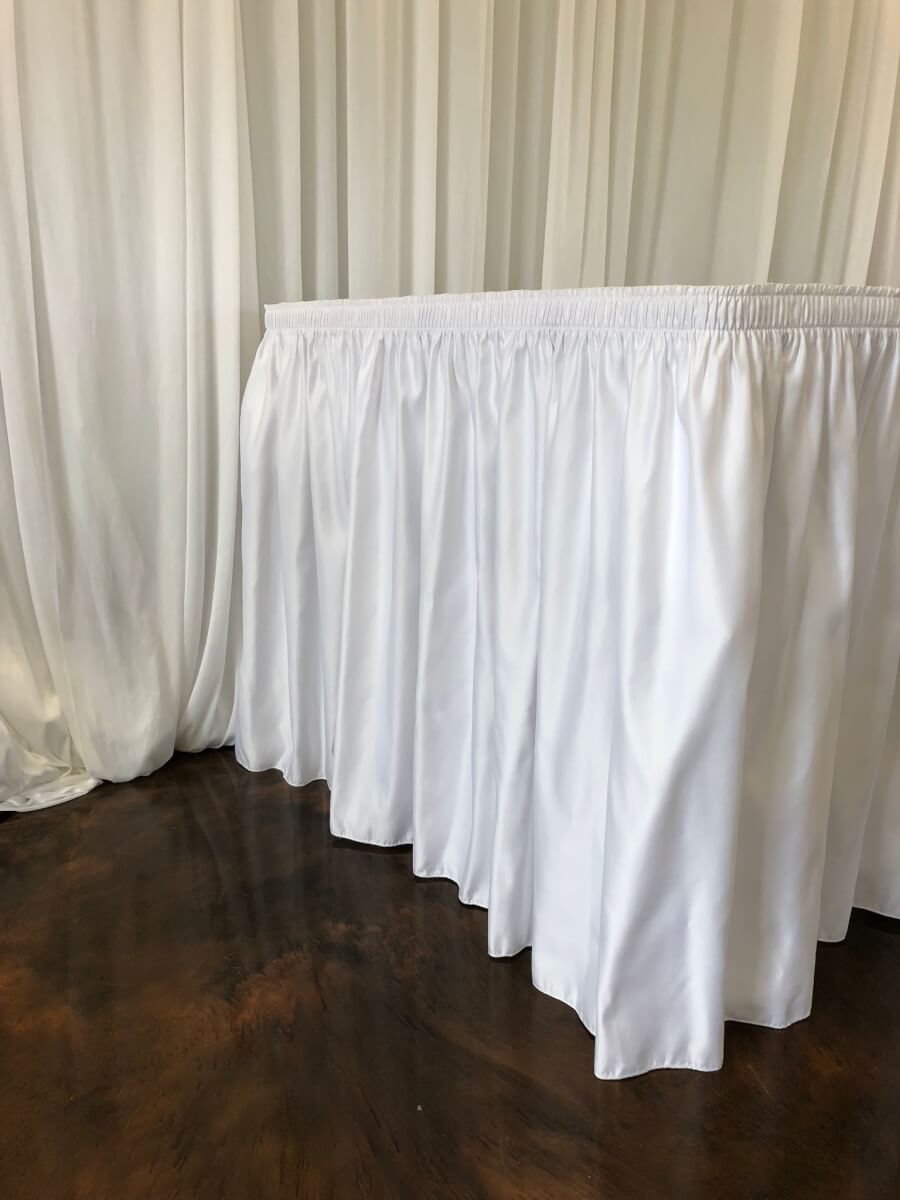 White Lamour Satin Table Skirting