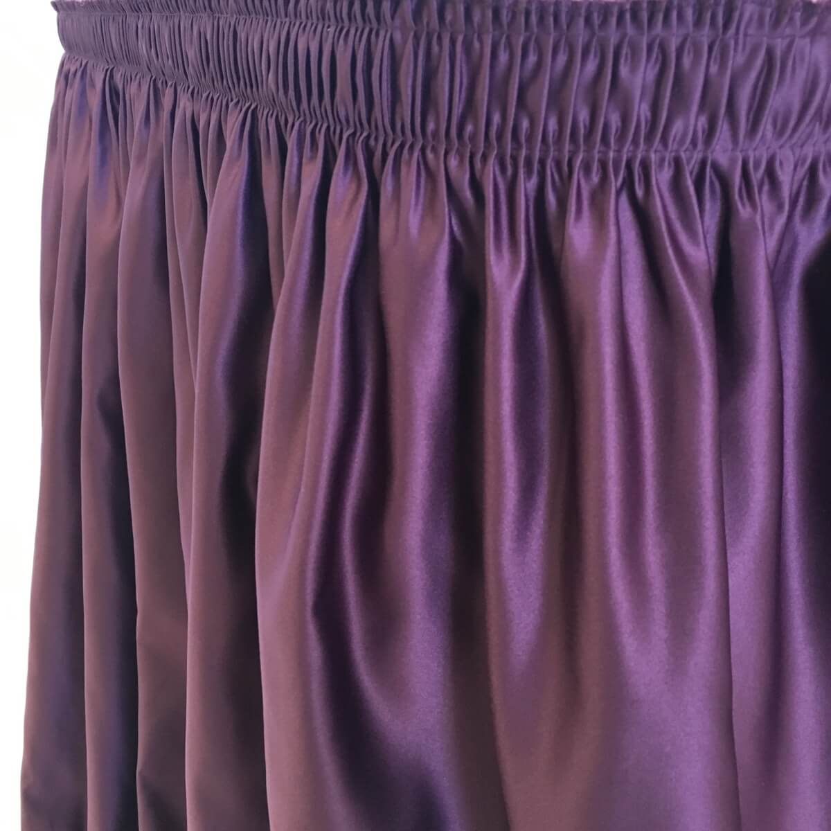 Plum Lamour Satin Table Skirting