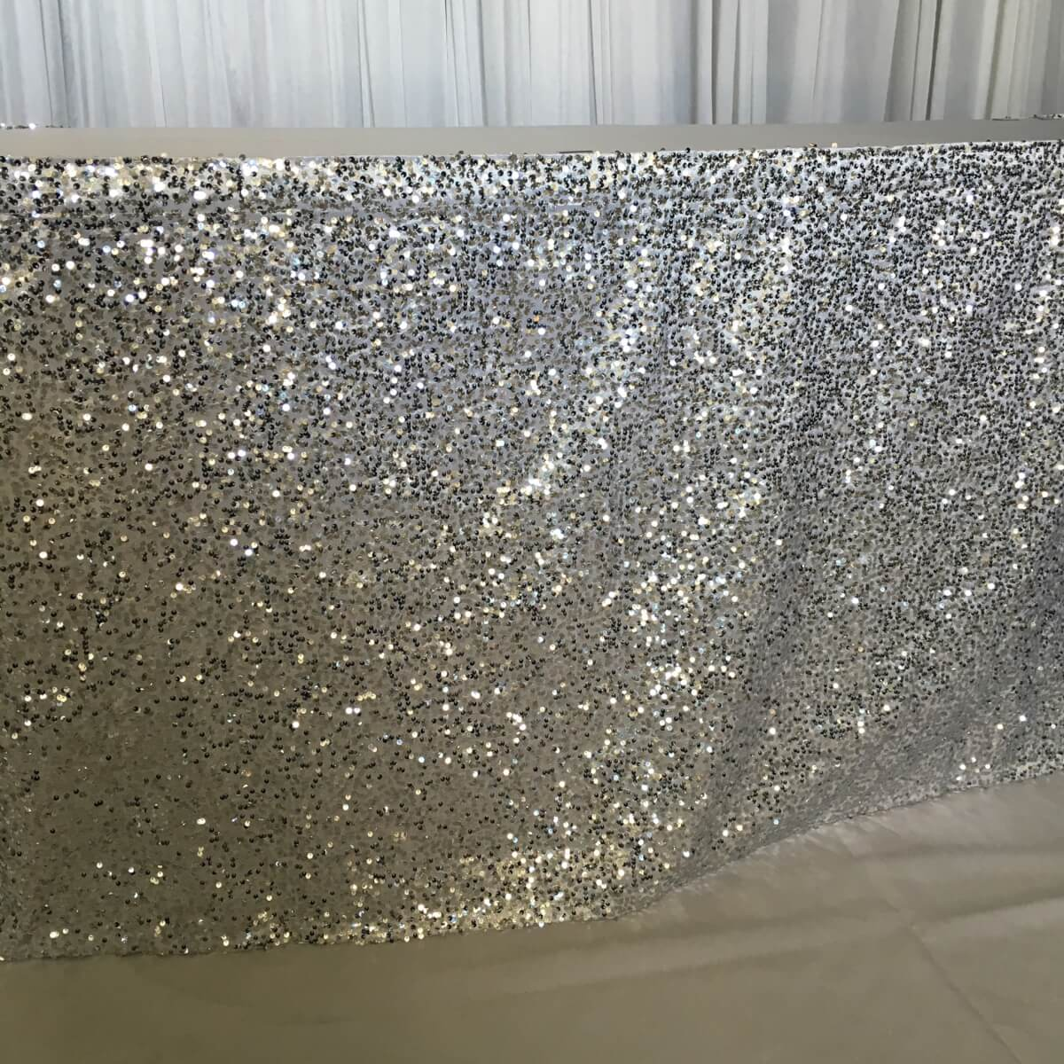 Silver Sequin Table Skirting