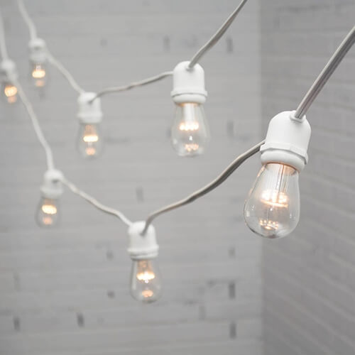 Cafe Lighting – White Wire