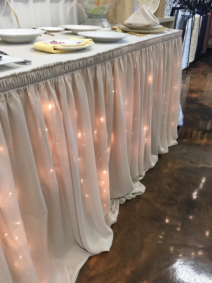 Tan Chiffon Table skirting