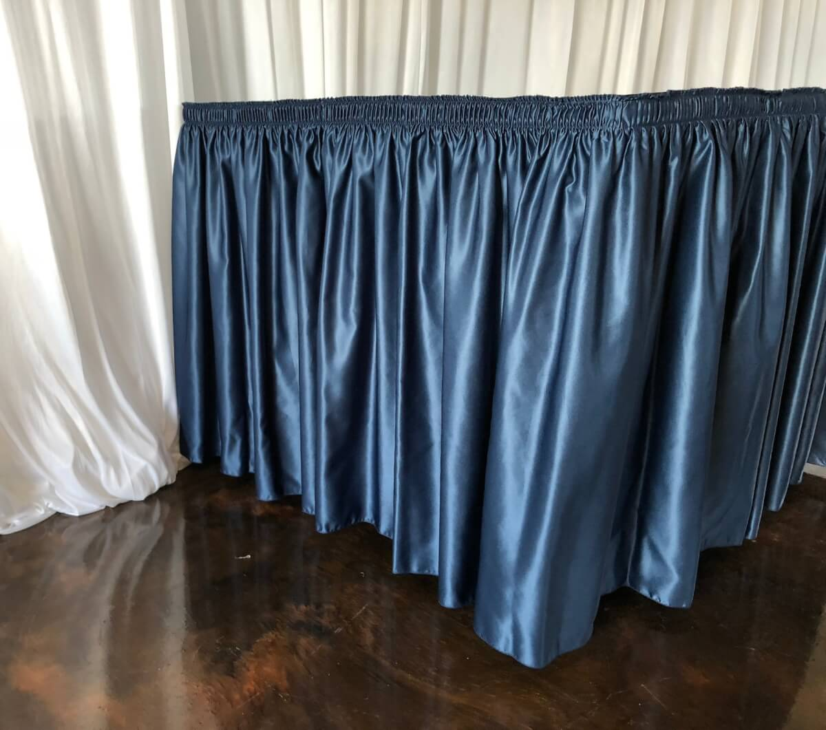 Navy Lamour Satin Table Skirting