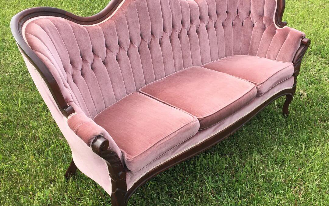 Vintage Dusty Rose Settee