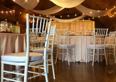 White Chiavari Chairs & Random Dramatic Ceiling