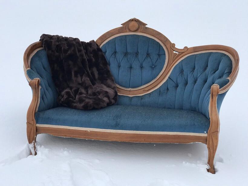 Vintage Slate Blue Settee