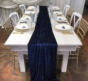 Navy Blue Velvet Runner